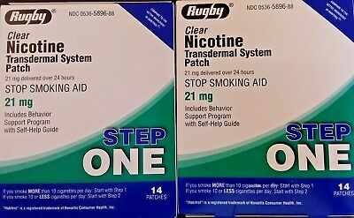 Rugby Nicotine Patch Transdermal System 21 mg 2 Boxes 28 Patches Total Step 1
