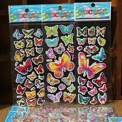 4pcs 3D butterfly Scrapbooking puffy book Stickers lot car wall Kids Xmas gift