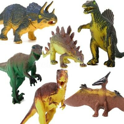 6 Piece Jumbo Dinosaur Playset Toy Animals Action Figures Set T Rex Triceratops