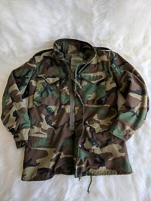 db77d303a94d6 Vintage 80's Alpha Industries M-65 Woodland Camouflage C/W Field Coat Size  MED