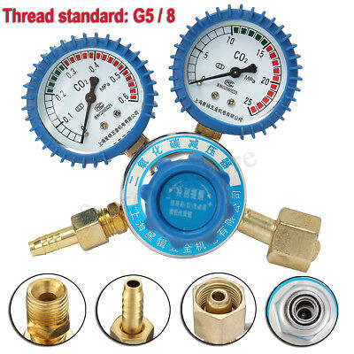 Argon CO2 Pressure Reducer Mig Tig Flow Control Gas Regulator Dual Gauge