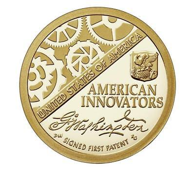 """American Innovation Signed First Patent Usa Us 1 Dollar 2018 """"p"""" Coin Unc"""
