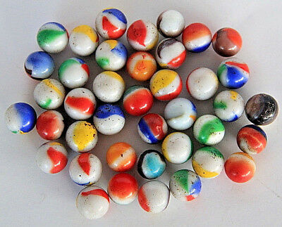 40 Mixed Vintage Glass / Agate Toy Marbles ? Peltier, Akro Agate, Christens