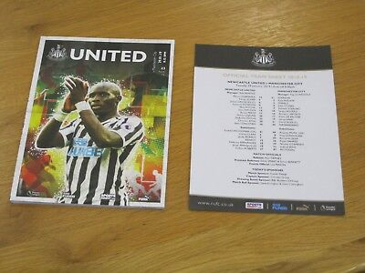 Newcastle v Manchester City Official Matchday Programme c/w Team Sheet 29.1.2019
