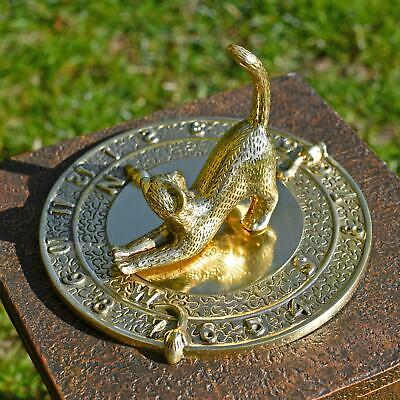 180mm Solid Polished Brass Cat Garden Sundial