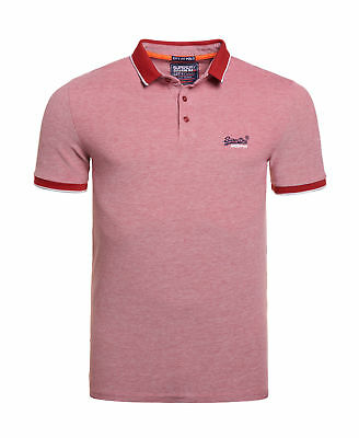 New Mens Superdry Factory Second City Oxford Pique Polo Shirt Red