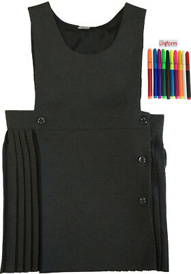 Only Uniform Girls School Dress Pleated Bib Pinafore Pack Of 3 With Marker Set