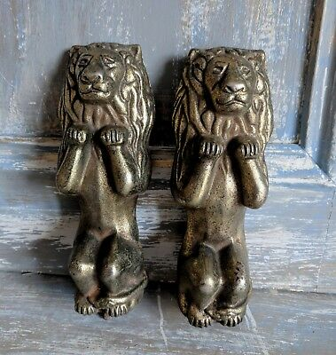 Pair Antique French Empire Brass Coated Cast Iron Lion Furniture Embellishments