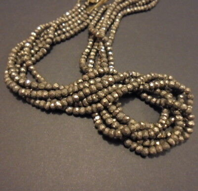 30 PERLE PIERRSE NATURELLE FACETTE INDE 2 mm PYRITE NATURAL STONE BEAD FACETTED