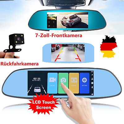 "7"" Dashcam HD Dual Lens Auto DVR Autokamera Rückspiegel 1080P Touch Screen"