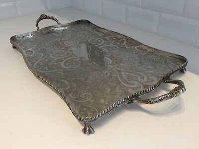Antique Silver Plated Serving Tray Twin Handled Footed Chased Quality on Copper