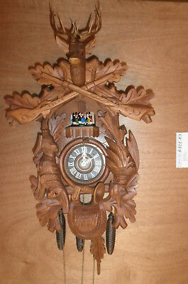 Cuckoo Clock German made Black Forest  SEE VIDEO Musical Hunter 1 Day CK2224