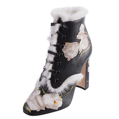 d546f912bc6 DOLCE   GABBANA Leather Heel Ankle Boots Size 38 UK 5 Fur Made in Italy