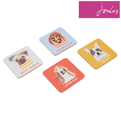 Joules Coasters Set of 4-Gold Dogs Multi