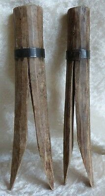 """Victorian Antique Gypsy/Shaker Clothes Pegs/Pins Wooden Metal Band 6"""" c1800s"""