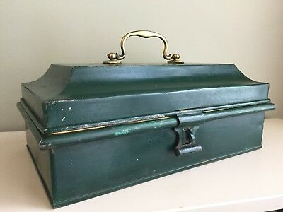 Antique Metal Deed Box Cash Tin Original Paint Brass Handle Edwardian 36cm (b3)
