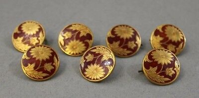 Vintage 7 x Deccan Brass & Enamel Buttons 2cm Diameter Collectable Craft Pretty