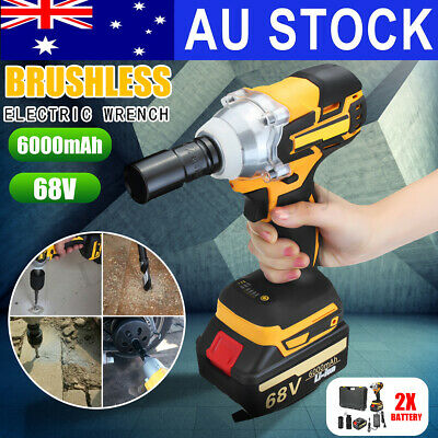 68V Cordless Electric Impact Wrench Brushless Rattle Gun Car Torque Driver
