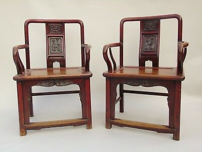 Good Pair of 19th Century Chinese Elm Red Laquer Armchairs