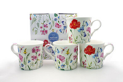 Fine Bone China Set Of 4 Gift Boxed Mugs Spring Flowers Design