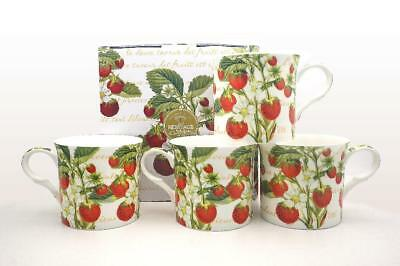 Fine Bone China Set Of 4 Gift Boxed Mugs Strawberry Design