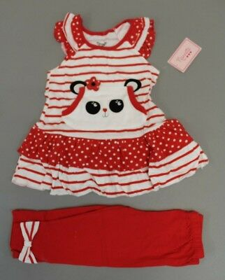 0ce31dc11 Nannette Girl's Striped Ruffle Top & Legging 2 Piece Set Outfit SI4 Red Size  6