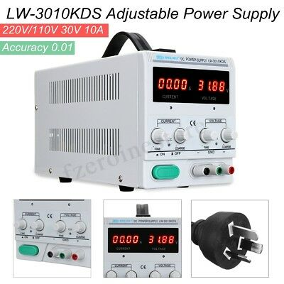 Variable 30V 10A Adjustable DC Power Supply Precision Digital Lab Test w/ Cable