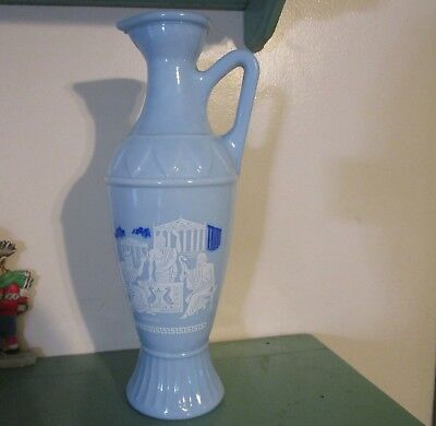Blue Decanter Vase O-334 Greek Great Thinkers: Socrates, Plato & Aristotle Scene