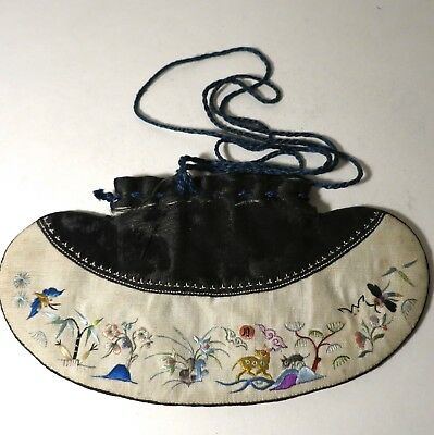 Antique Vintage Chinese Scent Purse Embroidered Figural Scenic