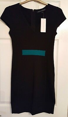 Bnwt French Connection Fcuk  Knit Dress Size 14, Black Turquoise
