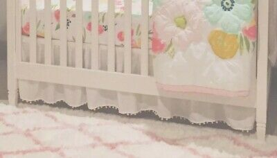 Classic White Ruffle Crib Skirt w White Pom Pom Trim or Custom Color Sale Price!