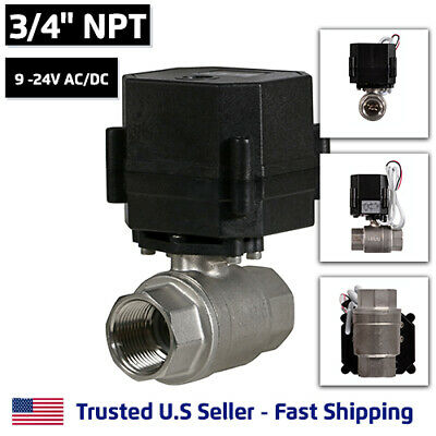 "3/4"" Stainless Steel Motorized Electric Ball Valve 9V 12V-24 Volt AC/DC, 2 Wire"