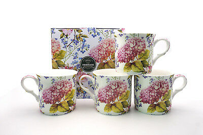 Fine Bone China Set Of 4 Gift Boxed Mugs Midsummer Design