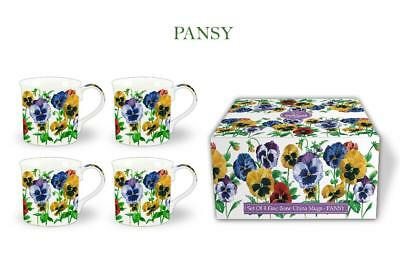 Fine Bone China Set Of 4 Gift Boxed Mugs Pansy Design