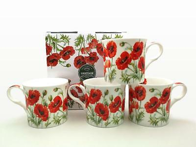 Fine Bone China Set Of 4 Gift Boxed Mugs Summer Poppy Design