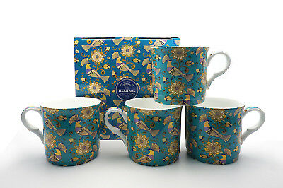 Fine Bone China Set Of 4 Gift Boxed Mugs Oriental Birds Design