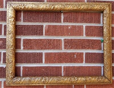 Antique EDWARDIAN ROSES Flowers Compo Gesso GOLD Picture Frame 13.5 x 18 in. fit