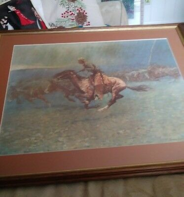 """Frederic Remington numbered artwork  """"The Stampede"""".Framed and matted.vgc"""