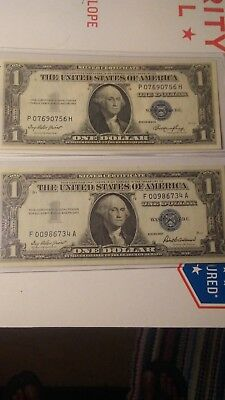 1935 E & 1957 US $1 Silver Certificate Note-nice circulated lot of (2)