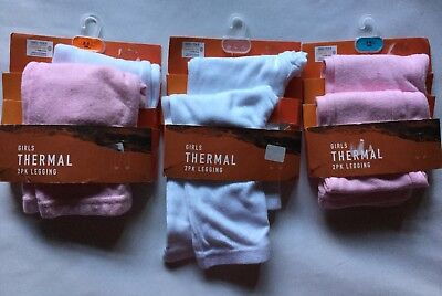 Girls 2 pack Thermal Leggings in Pink / White size 2-3 years or 3-4 years