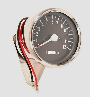 Custom Mini Tachometer 4:1 Ratio Mechanical Drive Chrome Body Black Face