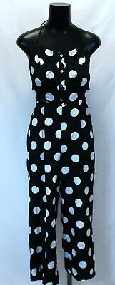 668d047603a0 Forever 21 Women s Cami Tie Neck   Back Polka Dot Jumpsuit AB4 Black Small  NWT