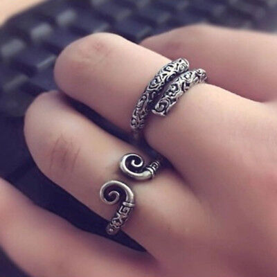 Vintage Tibetan Silver Open Adjustable Finger Ring Knuckle Rings Jewelry Gift LD