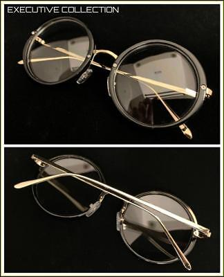 93c7f38842a5 Men Classic RETRO Nerd Waldo Style Clear Lens EYE GLASSES Round Black Gold  Frame
