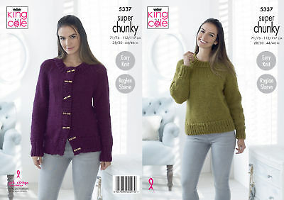 2ea92a058 King Cole Ladies Super Chunky Knitting Pattern Easy Knit Sweater   Cardigan  5337