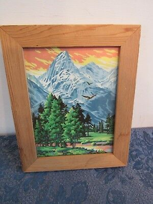 "Vintage Paint By Number Eagle Mountains River Stream Sunset Framed 12"" x 15"""