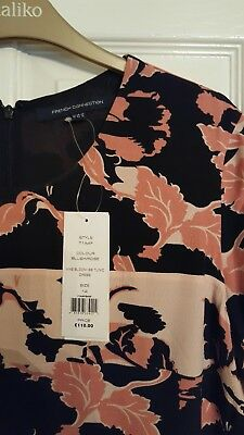 Bnwt French Connection Fcuk Crepe Tunic Dress Size 14, Black Multi