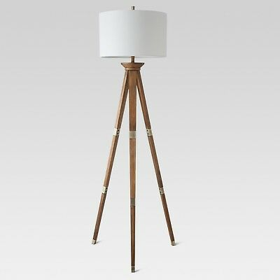 Modern Tripod Floor Lamp Oak Wood Lamp With White Lamp Shade