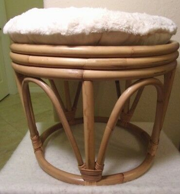 Vintage Mid Century Modern Bamboo Rattan Chair Foot Rest with Padded Cushion