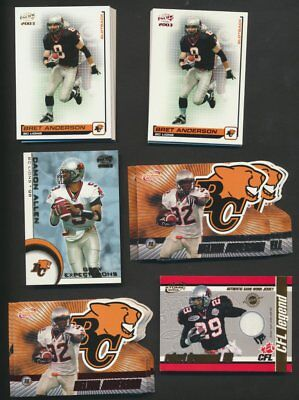 2003 Pacific Atomic CFL B.C. Lions  Team Lot of 42 With Parallels & Rare Inserts
